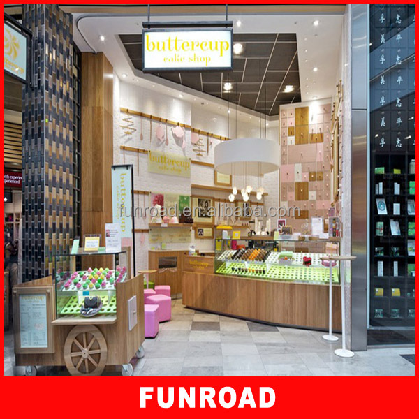 Luxury plywood baking paint shopping cake mall display cheap for cake store