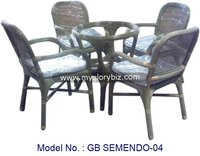 Space Saving Rattan Living Set Furniture With Cushion And Glass Top Table Mainly For Indoor Furnishing In Simple Design