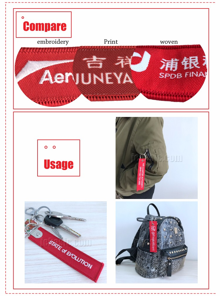 personalized trendy design polyester embroidered keychain/ keytag/ key chain