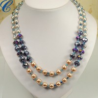 2014 Cheap Fashion Jewelry Handmade Pearl Necklace With Big Red Pendant For Kids Gift