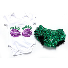 2016 hot sale bodysuit with mermaid bloomer new born baby clothes