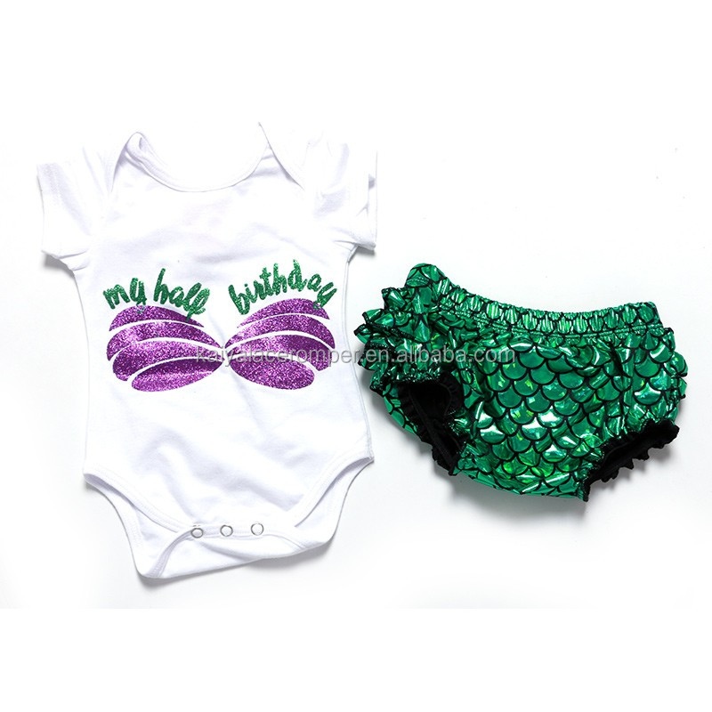 hot sale bodysuit with mermaid bloomer new born baby clothes