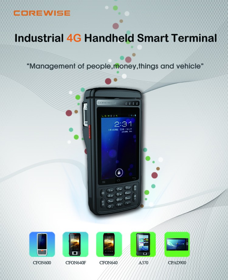Android 6.0 handheld Terminal 4G LTE wifi thermal printer POS system PDA