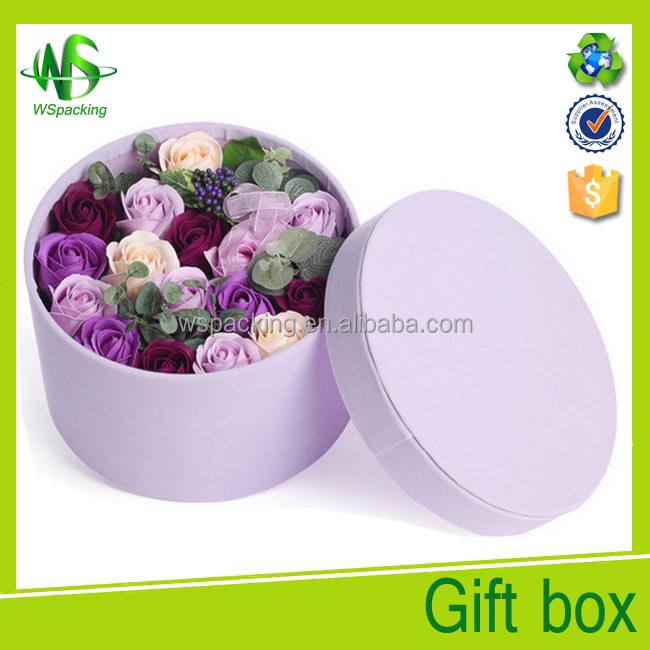 Light purple keepsake paperboard round flower box with lid