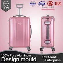HLW aluminum metal suitcase matte finish soft surface abs trolley luggage