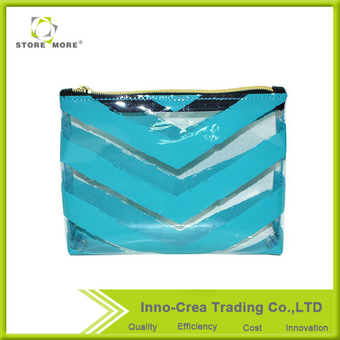 Hot Sales Durable Stripe Clear Pvc Travel Cosmetic Bag