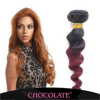 Chocolate hair Natural indian hair loose wave 16 18 20 OMBRE color 1B/BUG 100% human hair extentions wholesale price
