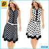 New design stylish polka dot elegant V-neck button casual dress with white belt for woemn