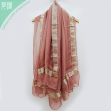 Wholesale new design multifunctional lurex long chiffon silk scarf