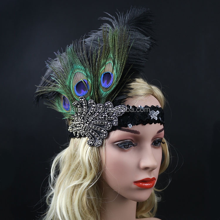 Women <strong>Hair</strong> <strong>Accessories</strong> With Peacock Halloween Flapper Sequin Headband Headpiece