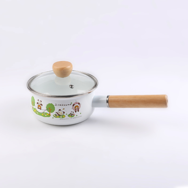 small enamel single-throw pot with ceramic handle