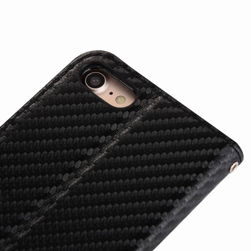 Carbon fiber texture Leather Case for iPhone 7, for iPhone7 Slim Flip Card Cover