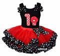 Red Black Polka Dots Satin Trimmed Tutu with Number 1 Cupcake Hot Pink Tank Top