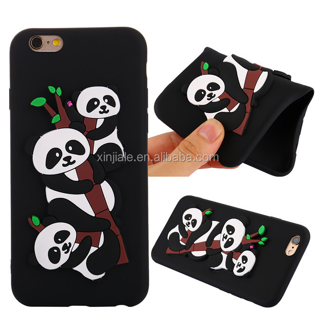 New Cute 3D Silicone Panda Shockproof Back Soft Mobile phone Shell Cover Phone Case For Iphone 6 6S 7 7S Plus 8 8s