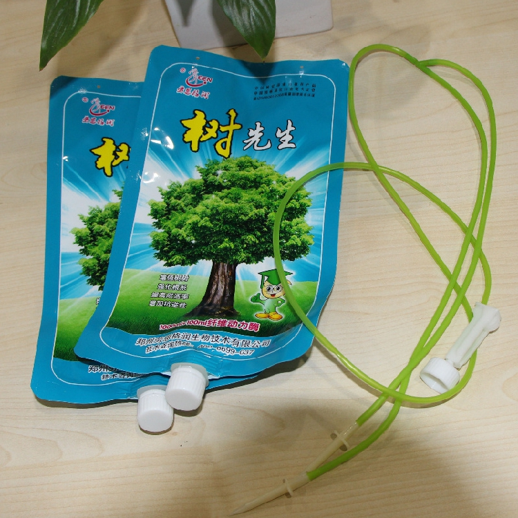 custom made printed plastic Plant Tree nutrition infusion bag with hang holes with spout