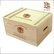 Handmade Feature Wine Packing Industrial Use Wooden Storage Crate with Slide Lid