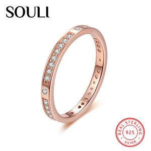 Fashion 925 Sterling Silver Zircon Rings Jewelry Women Rose Gold Plated Diamond Ring