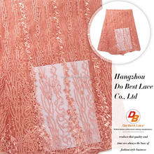 Pink handmade heavy bridal beaded lace fabric french net lace with crystal new product tulle lace