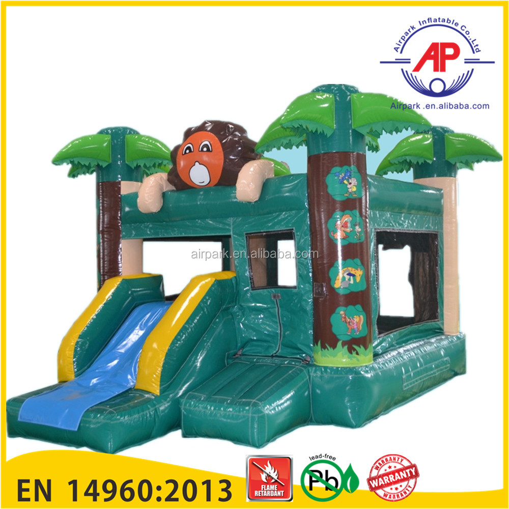 Promotion 2016 top seller PVC inflatable adult bounce house with slide