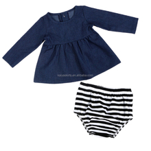 fall newborn baby clothes long sleeve tops and striped pant wholesale western boutique clothing