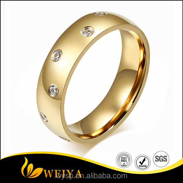 High Quality Fashion Stainless Steel Dubai 18 Gold Plated Wedding Engagement Ring Zricon Jewelry