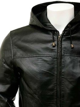 Men's Black Leather Hoodie