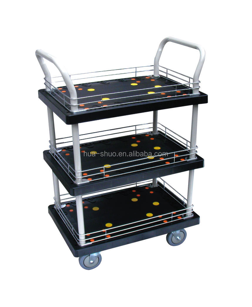 3 levels platform truck heavy duty version flatbed trolley