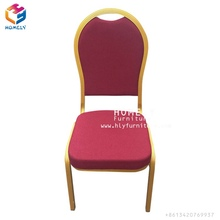 China wholesale cheap used fancy luxury stackable rental gold metal banquet chair for wedding