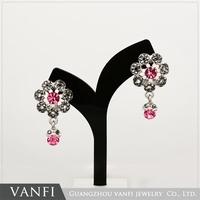 Popular wholesale items flower earrings drop cz earrings silver jewelry