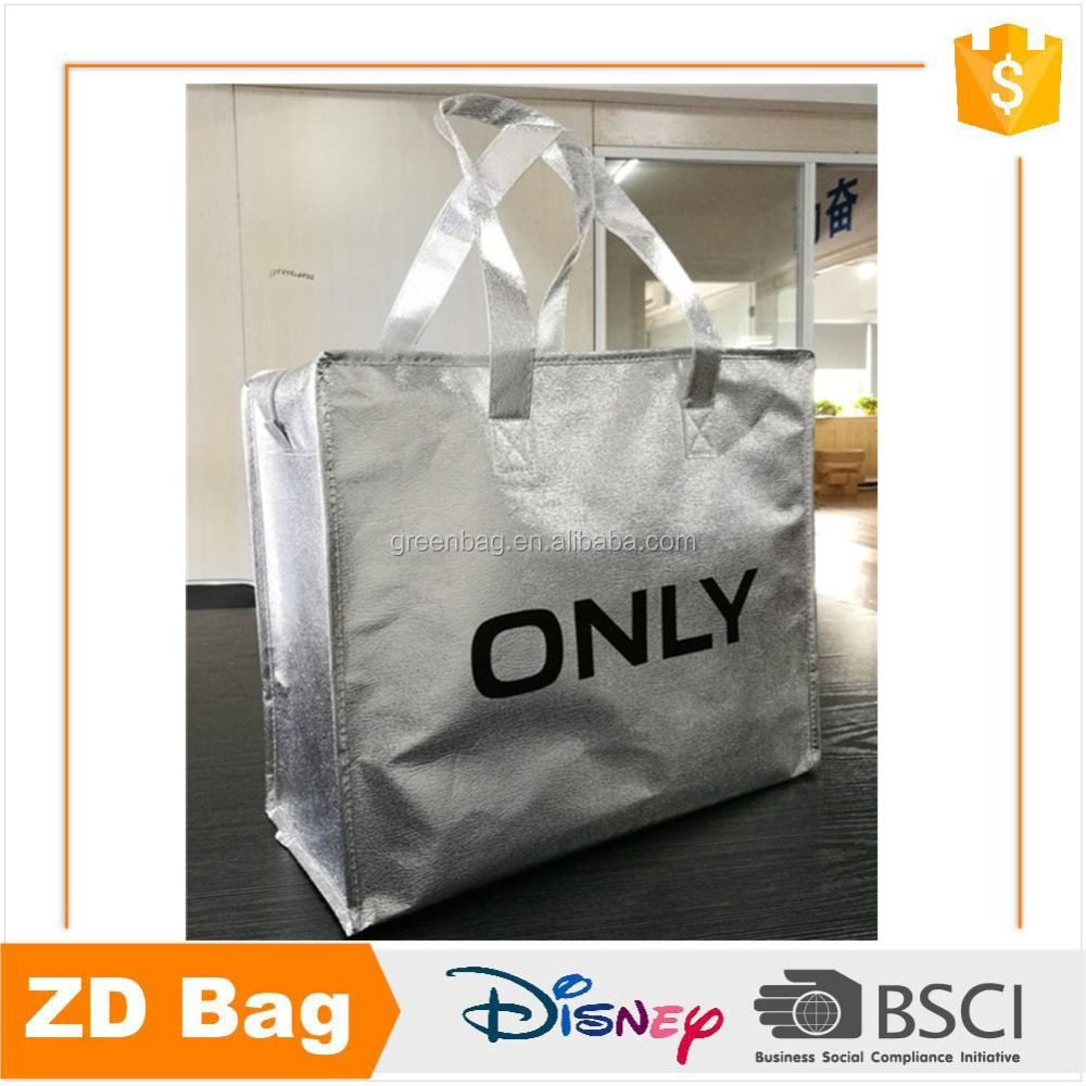 New Fashion Recycle Non Woven Laminated Metallic Color Women Shopping Cloth Bag