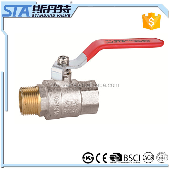 ART.1016 Brass ball valve 3/4 inch long lever handle PTFE seated forged copper body with high pressure BSP or NPT threaded