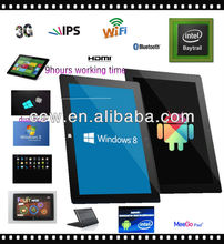 Intel Bay Trail 3740D Windows8 Android dual boot IPS screen Ultra stick 3G keyboard laptop tablet pc notebook