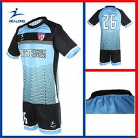 Healong dye sublimation heat transfer imprinting make custom Thermal Transfer Printing Jersey Soccer padded