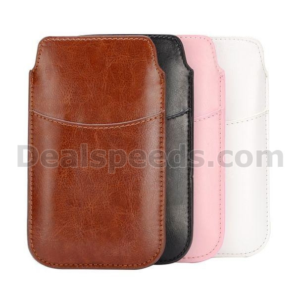 Glossy Crazy Horse Pattern Card Slot PU Leather Pouch Case For Galaxy S5 Samsung i9600 G900 With Elastic Strap (Pink)