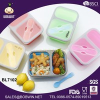 600ML+300ML Collapsible Silicone double case lunch box