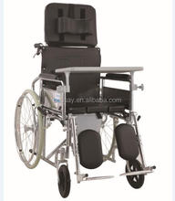 China medical equipment manufacturer high back manual wheelchair with pull toilet