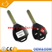 Custom Logo Black Remote Control Auto 3 Buttons Car Key For Toyota