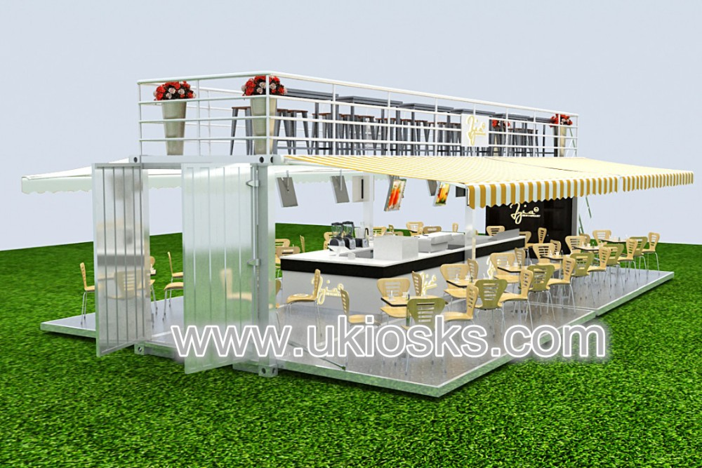 Outdoor 40ft shipping container fast food restaurant design