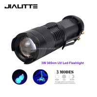 Jialitte F073 LED UV Flashlight Purple Violet Light Zoomable UV 365nm torch Lamp 3 Modes Light Lamp Uesd By AA Or 14500
