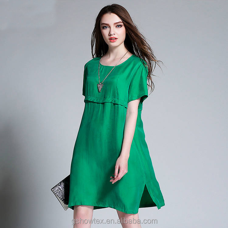 Plus size summer dress in solid color for fat women