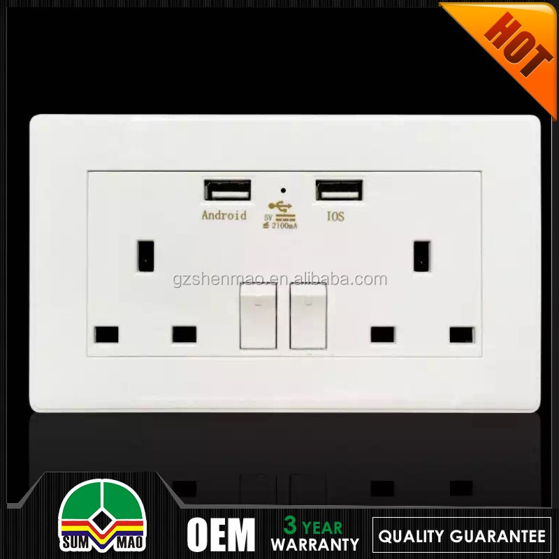 15 years warranty UK Style double/single 13A switched socket with neon and 2 USB golden white color OEM/ODM with free logo