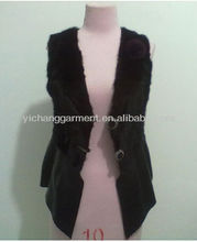 2013 women genuine mink fur and lamp skin vest