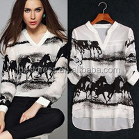 Instyles Elegant Ladies Ink Horse Print Blouse