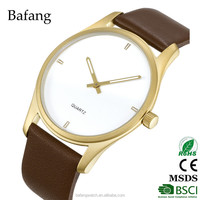 China stainless steel vogue watch with gold stainless steel case and leather strap
