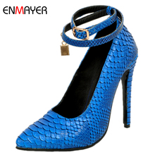 2017 sexy high shoes blue crocodile pu fashion lady high heel shoes