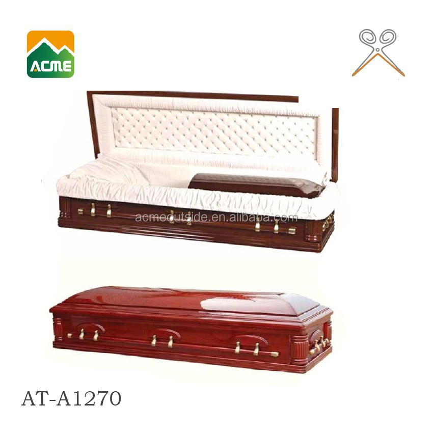 AT-A1270 luxury finish solid oak mdf funeral casket