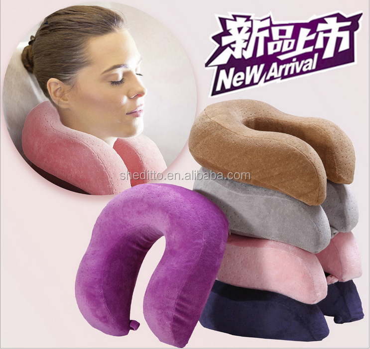 Stock Airplane message pillow u shape memory foam & cooling gel SGS Certificated memory foam neck pillow
