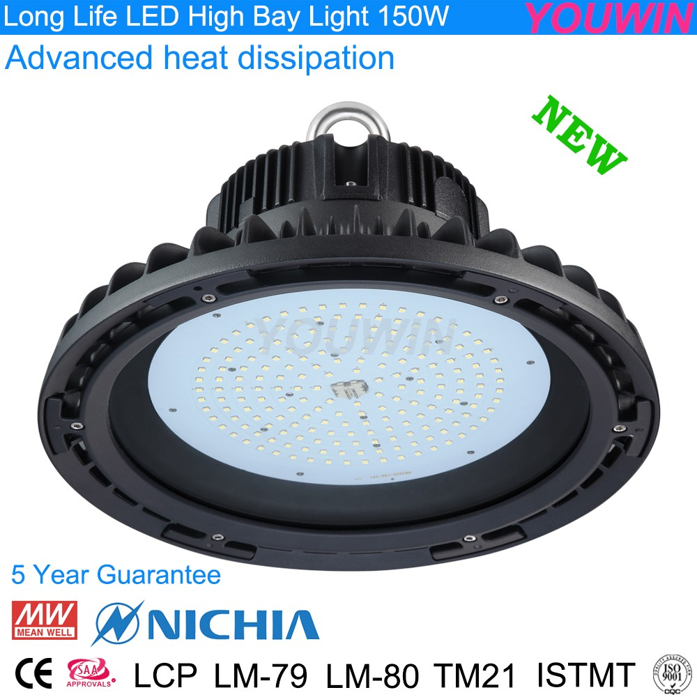 Best offer Meanwell driver and Nichia chip 140lm/w LED highbay UFO 150w for repalcemwnt HPS