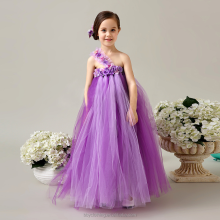 New Pretty For Girls Cheap Costume Pageant Dress Floor Length One Shoulder Tulle net Flower First Communion Dress 2017