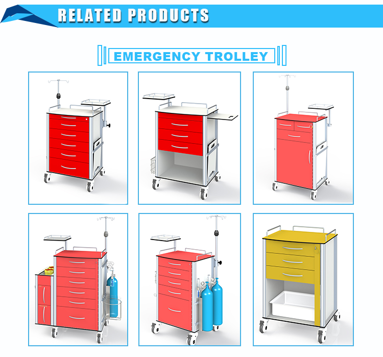 Medical Equipment high quality HPL Hospital Emergency Trolley With Disposable Lock